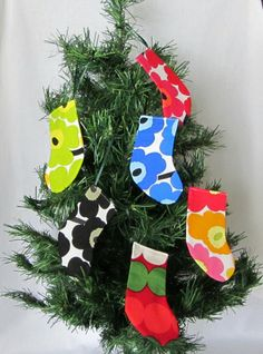 Marimekko Christmas ornaments, mini stockings. https://www.etsy.com/listing/166963961/2-marimekko-mini-stockings-christmas?ref=shop_home_active