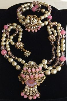 Vintage Miriam Haskell Necklace & Bracelet Set~Pink Glass/Pearls/Rhinestones/Gilt Filigree~Signed