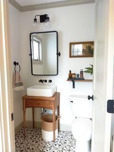 small bathroom 370843350563706788 - Light, neutral bathroom, cement tile, walnut vanity, sherwin williams alabaster Source by Downstairs Bathroom, Bathroom Renos, Shiplap Bathroom, Bathroom Canvas, Small Half Bathrooms, Classic Small Bathrooms, Tiny Half Bath, Small Bathroom Ideas On A Budget, Modern Vintage Bathroom