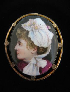 Victorian Hand Painted Portrait Miniature Pin Woman For sale on Ruby Lane