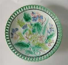 Antique-Majolica-Compote-Comport-Articulated-Pierced-Edge-Floral-Fauna-Flowers