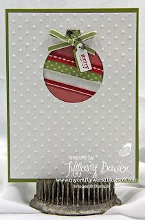 Use framelit to diecut ornament. Stamped Christmas Cards, Homemade Christmas Cards, Christmas Cards To Make, Noel Christmas, Xmas Cards, Homemade Cards, Handmade Christmas, Christmas Ornament, Christmas Ribbon