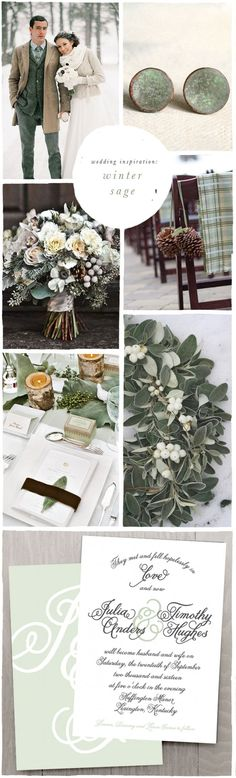 Green and white theme for a winter wedding. Inspiration board.
