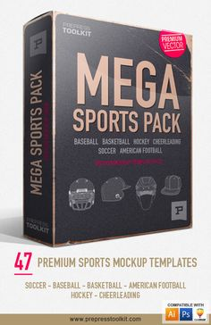 Mega Sports Pack - Vector Mockup Templates. Every Sports mockup template in one…