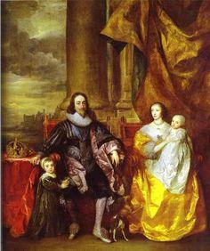 Carlos I y la reina Enriqueta María con Carlos, Príncipe de Gales y la princesa María 1632-- Anthony Van Dyck  Oleo Palacio de Buckingham, Londres