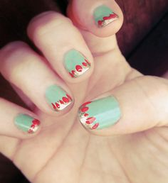 mid century modern nail  art  manicure -sonia kashuk-mint- gold-coral nails by ...love Maegan, via Flickr