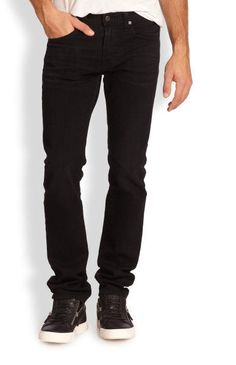 AG Adriano Goldschmied Men's 'Matchbox Slim-Straight' Black Jeans 38x34 NWT $198 #AGAdrianoGoldschmied #SlmStraightLeg