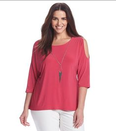 09c84ff7fac NEW Notations Plus Size 3X Cute Pink Cold Shoulder Top Blouse with Necklace   Notations
