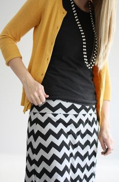 navy cotton top, yellow three-quarter sleeve cardigan, zigzag navy + white skirt :: office glam #fashion #office #work #chic #modest