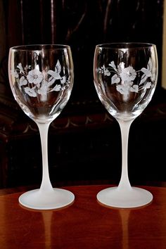 Two Vintage Lalique Style Wine Glasses