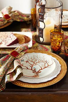Delight your guests with a Thanksgiving tablescape centered around Pier 1's Alexander the Deer Salad Plate, featuring a beautiful winter scene of colorful birds perching quietly on Alexander's impressive antlers. Coordinate this unique table topper with accents inspired by nature—like handblown tortoiseshell glassware and cotton table linens. Perfect for Thanksgiving, this glazed ironstone plate easily transitions into Christmas, too.
