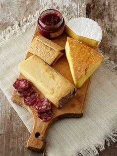 Grayson  Cheese & Salami Platter: Bleu Mont Cheddar, Bayley Hazen, Sweet Grass Green Hill, Strawberry Balsamic Preserves, Urban Oven crackers, Creminelli Barolo salami