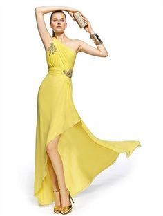 Column Yellow Asymmetiral One-shoulder Chiffon Prom Dress PD2246 www.simpledresses.co.uk £118.0000