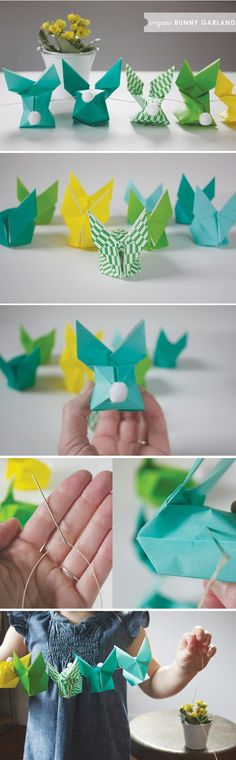 DIY Inspiration: Origami Hasengirlande für Ostern // Origami Bunny Garland for… Diy Origami, Origami And Kirigami, Oragami, Origami Garland, Origami Tutorial, Garlands, Spring Crafts, Holiday Crafts, Holiday Fun