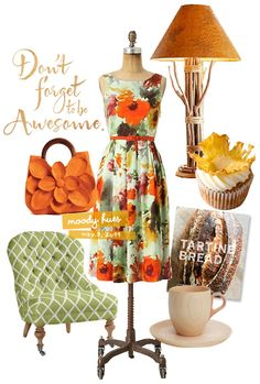 I just love everything about this board.  The bag, the chair, the hummingbird cupcake, the bread and the coffee.