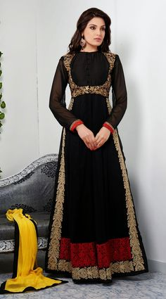 Black Abaya Style Long Shalwar Kameez BE0244
