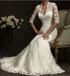 White / Ivory mermaid wedding dresses, lace bridal gown train, lace long sleeve wedding dress Free shipping on Etsy, $183.00