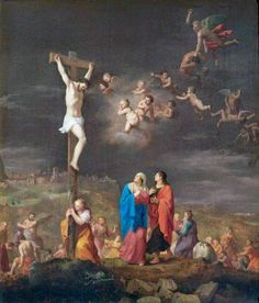"""coriesu: """"The Crucifixion, with the Fall of the Rebel Angels Cornelis van Poelenburgh. Religious Pictures, Religious Art, Angel Rebelde, Jesus Reyes, Agony In The Garden, Spiritual Prayers, Religion Catolica, Art Paintings For Sale, Christian Religions"""