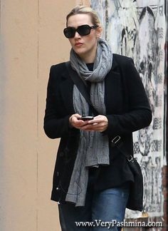 #KateWinslet Picks Up Her Kids In A #Gray Cable #Scarf