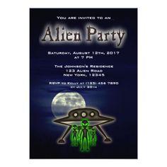 Super Cool Alien & UFO Party Invite - invitations custom unique diy personalize occasions