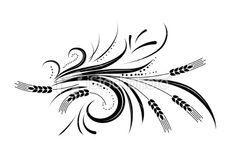 Calligraphic Wheat Flourishes Vector Illustration Royalty Free Stock Vector Art Illustration