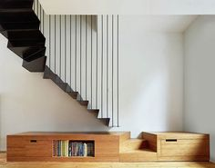 Edouard Brunet Architecte - Project - Renovating, splitting and extending a Brussels terraced-house - Staircase Storage, Staircase Design, Black Staircase, Terraced House, Interior Stairs, Interior Architecture, Interior Design, Contemporary Stairs, House Stairs