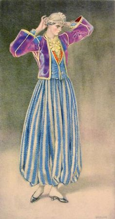 NICOLAS SPERLING Woman's Dress (Aegean Islands, Mytilini) 1930 lithograph on paper after original watercolour Greek Traditional Dress, Traditional Fashion, Traditional Outfits, Gypsy Costume, Folk Costume, Historical Costume, Historical Clothing, Ancient Greek Costumes, Greek Dress