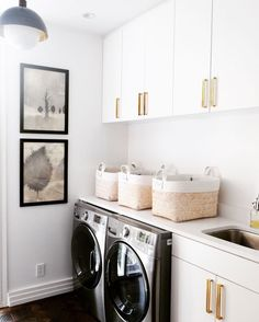 Black And White Laundry Room Decor. White Mudroom Bench With Black Herringbone Tiles . Home and furniture ideas is here White Laundry Rooms, Laundry Room Wall Decor, Laundry Room Organization, Laundry Room Design, Laundry In Bathroom, Small Laundry, Organizing, Organization Ideas, Laundry Closet