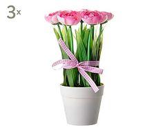 Set de 3 plantas de poliéster - rosa