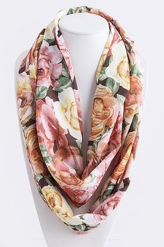 Gorgeous #Rose #Print Infinity #Scarf with a touch of Shabby Chic flair.