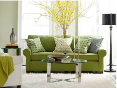 Living Room Decor Green Sofa Texture New Ideas Living Room Decor Curtains, Living Room Decor Cozy, Living Room Green, Living Room Windows, Paint Colors For Living Room, Small Living Rooms, Living Room Sets, Living Room Interior, Green Sofa Inspiration