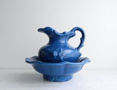 Vintage McCoy Blue Water Pitcher & Wash Basin by UpHome on Etsy