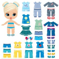 Summer Clothing and Shoes for a Little Girl Paper Doll from Dress Up Paper Dolls category. Hundreds of free printable papercraft templates of origami, cut out paper dolls, stickers, collages, notes, handmade gift boxes with do-it-yourself instructions.