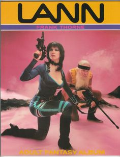 """Lann by Frank Thorne: Softback, As New (NM/M using comic book grading), January 1986, First U.S. Edition, Ken Pierce Books, size 8.5 x 11 inches, 64 pages, O/P. Thorne's """"adult fantasy album"""" with his buxom heroine Lann, who appears nude as much as she does clothed, in a space-fantasy adventure. $25"""