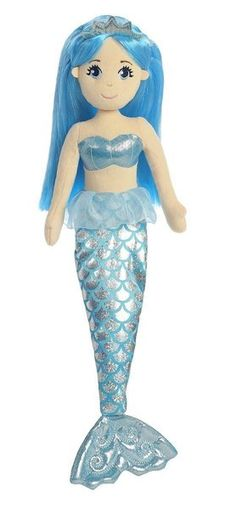17 Inches Tall Blue Soft Plush Stuffed Mermaid Doll with Shining Tail