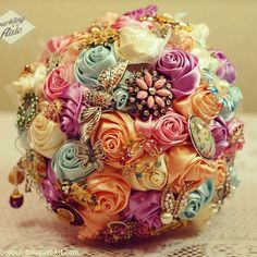 bouquet in Spring colors  #broochbouquet