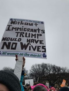 A demonstrator for Michigan women on the march holds a sign at the Women's March on Washington, Saturday, Jan. 21, 2017.