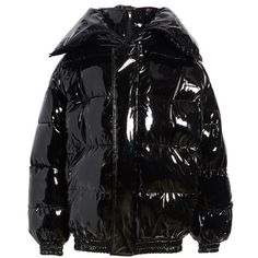 Women's Vetements Miss Webcam Puffer Jacket (€2.960) ❤ liked on Polyvore featuring outerwear, jackets, black, down filled puffer jacket, down filled jacket, quilted hooded jacket, oversized jackets and vetements jacket