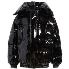 Women's Vetements Miss Webcam Puffer Jacket ($4,990) ❤ liked on Polyvore featuring outerwear, jackets, black, hooded zip jacket, shiny puffer jacket, oversized hooded jacket, oversized jackets and oversized puffer jacket