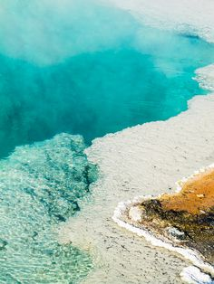 Steaming Hot Spring Pool at Yellowstone, National Park, Wyoming, USA