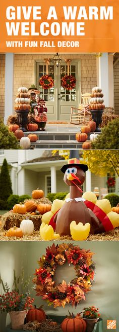 FALL HOME TOUR AT Foyers and House tours - natural halloween decorations