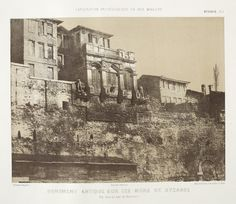 The palace of Boukoleon cent) in Constantinople. Ancient Monument on the Wall, Facing the Marmara Sea. Photo taken at showing the central facade of the palace before its demolition. Inuit Art, La Face, Exploration, Byzantine Art, Early Christian, Moorish, Istanbul Turkey, Roman Empire, American Art