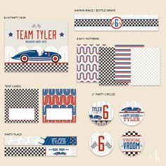 CUSTOM Vintage Racecar Boys Birthday  Essentials PRINTABLE by HWTM, $22.00