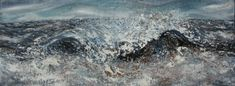 "Wave breaking on the sand bank Oil on board 80x30cms Maggi Hambling- ""Ocean waves 'unnumerable laughterings' "" Aeschylus c.430BC"
