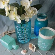 Turn simple glass jars into faux sea glass using 3 simple methods that require items that you probably already have in your home. These would look great as centrepieces for a wedding or any other festive occasion, or even just to add some coastal/summer pizzaz to your decor. Patina Paradise featured on Kenarry.com