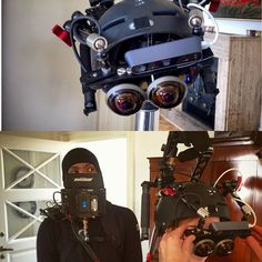 An awesome Virtual Reality pic! We've been building again! Our Technicians Anders Christian and Kale has build a VR setup with 2 GoPro Hero 4 cameras on a helmet. Nice setup that's already out shooting #happytosupply #gopro #gopro4 #DOP #vr #virtualreality #commercial #broadcast #cinematography by redrentaldk check us out: http://bit.ly/1KyLetq