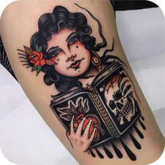 Girl, book, skull and sacred heart I did in last week, thanks so much for the trust guys! I enjoyed a lot doing this! Pin Up Girl Tattoo, Pin Up Tattoos, Head Tattoos, Badass Tattoos, Body Art Tattoos, Tattoo Drawings, Sleeve Tattoos, Tattoo Ink, Arm Tattoo