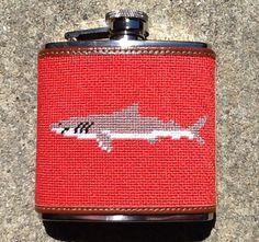 Needlepoint Flask - Shark