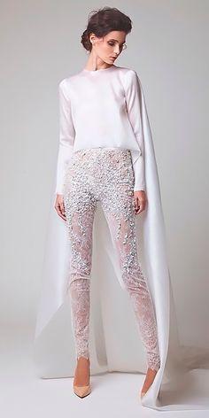 Trend 2018: 24 Wedding Pantsuit & Jumpsuit Ideas ❤ wedding pantsuit ideas separates illusion pants long sleeves elioaboufayssal ❤ See more: http://www.weddingforward.com/wedding-pantsuit-ideas/ #weddingforward #wedding #bride #weddingjumpsuits
