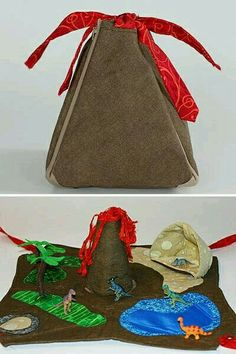 Craftster user HollyRH shows us how she made this portable Dinosaur Play Mat for her son. I love that it looks like a volcano when closed. Informations About HOW TO - Dinosaur Play Mat Pin You can eas Sewing Toys, Sewing Crafts, Sewing Projects, Sewing Ideas, Baby Crafts, Felt Crafts, Sewing For Kids, Diy For Kids, Baby Toys